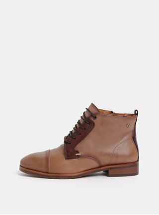 Hnědé kožené kotníkové boty Pikolinos Siena