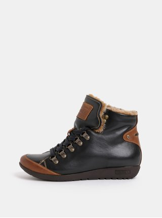 Černé kožené kotníkové zimní boty s umělým kožíškem Pikolinos Black