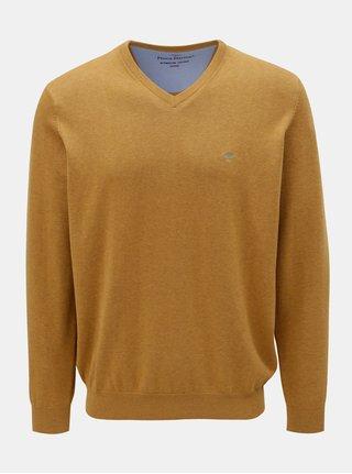 Oranžový svetr s véčkovým výstřihem Fynch-Hatton