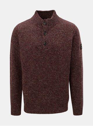 Vínový melírovaný sveter z merino vlny Fynch-Hatton