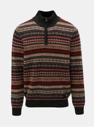 Červeno–sivý vzorovaný sveter z merino vlny Fynch-Hatton