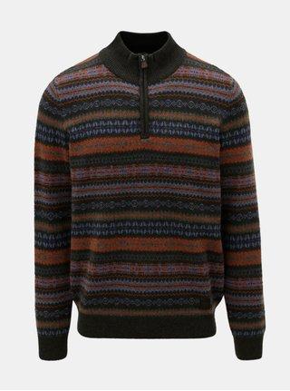 Oranžovo–zelený vzorovaný sveter z merino vlny Fynch-Hatton