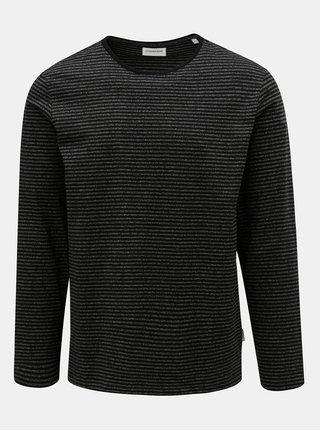 Sivo–čierne melírované pruhované tričko Lindbergh