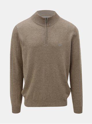 Hnedý sveter z merino vlny s prímesou kašmíru Fynch-Hatton