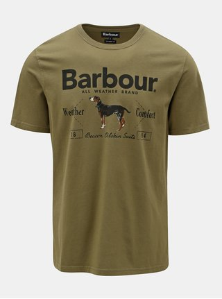 Tricou barbatesc kaki cu imprimeu Barbour Country