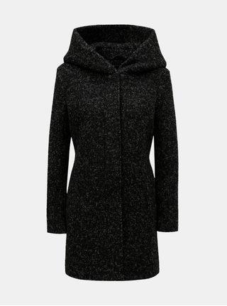 Černý žíhaný kabát s příměsí vlny ONLY