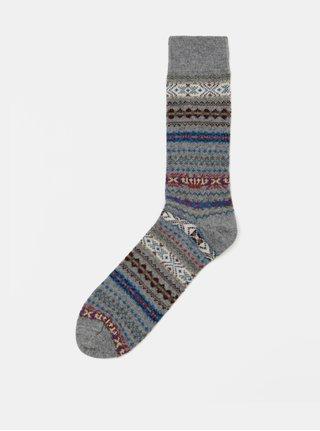 Šedé vzorované vlněné ponožky Barbour Boyd Sock