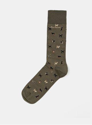 Sosete kaki cu motiv caini Barbour Mavin Sock