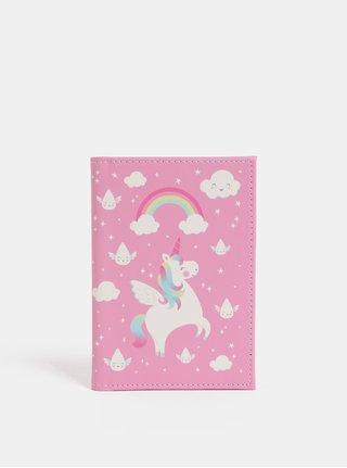 Růžový obal na pas s potiskem jednorožce Sass & Belle