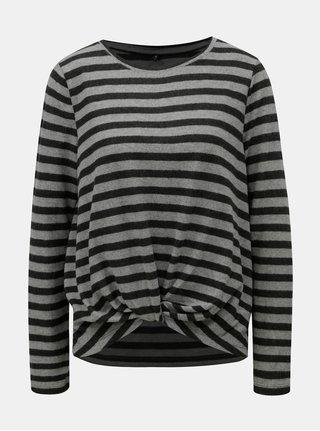 Šedý pruhovaný lehký svetr s uzlem ONLY Alma