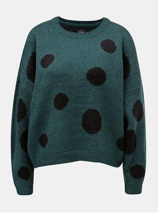 Tmavě zelený puntíkovaný oversize svetr ONLY Tiffany