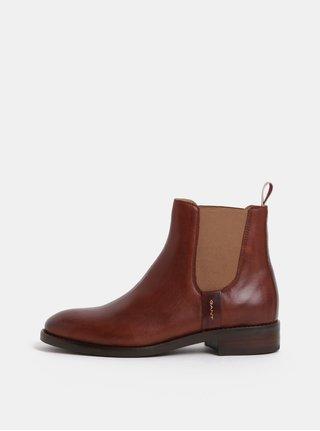 Hnědé dámské kožené chelsea boty GANT Fay
