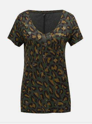 Kaki vzorované voľné tričko s motívom sŕdc ONLY Sabel