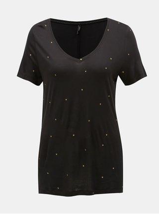 Čierne bodkované voľné tričko ONLY Sabel