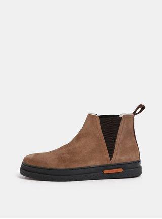 Hnědé pánské semišové zimní chelsea boty s vlněnou podšívkou GANT Josef