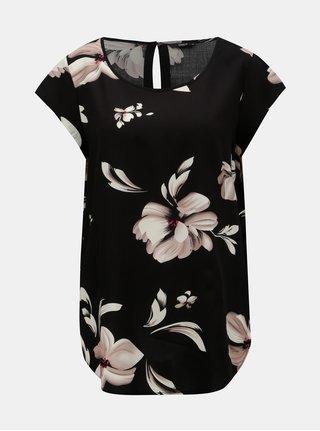 Černá květovaná halenka s průstřihem na zádech ONLY Nova