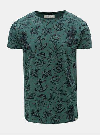 Modro-zelené vzorované tričko Dstrezzed