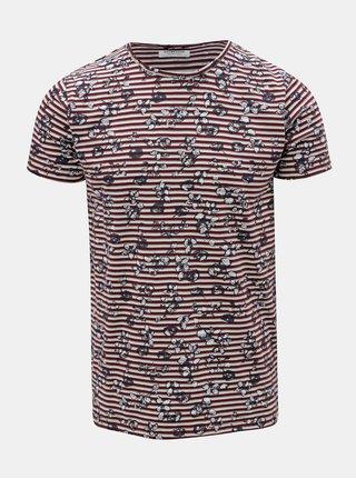 Krémovo-vínové pruhované tričko Dstrezzed
