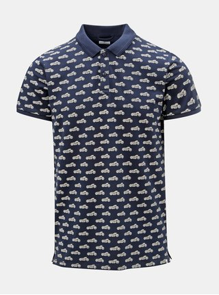 Modré vzorované polo tričko Dstrezzed