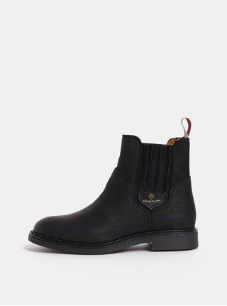 Čierne dámske kožené zimné chelsea topánky GANT Ashley