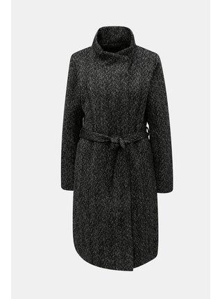 Čierny melírovaný kabát s prímesou vlny ONLY Cindy