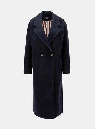 Tmavomodrý dlhý kabát s prímesou vlny ONLY Lara