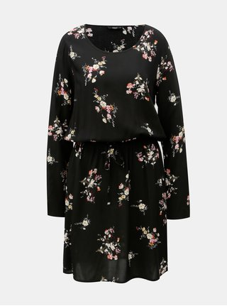 Rochie neagra florala cu maneci lungi si snur in talie ONLY Nova Draw