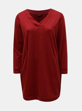 Červené mikinové šaty s dlhým rukávom Zizzi Gunvur
