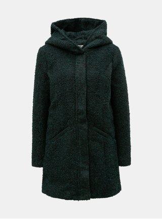 Tmavozelený melírovaný kabát s kapucňou Jacqueline de Yong Demea