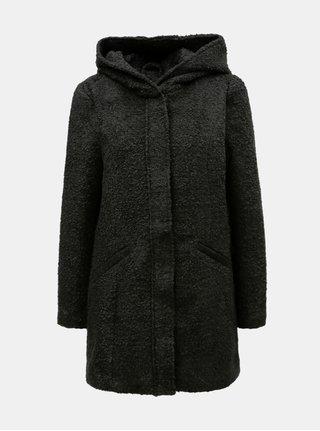 Černý kabát s kapucí Jacqueline de Yong Demea