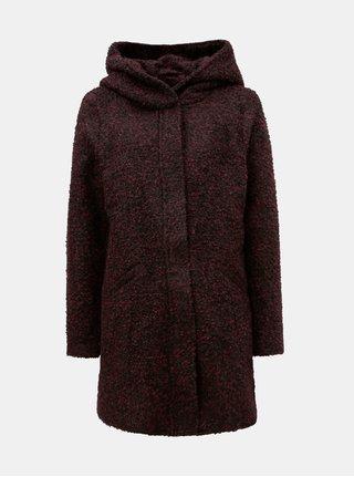 Vínový žíhaný kabát s kapucí Jacqueline de Yong Demea