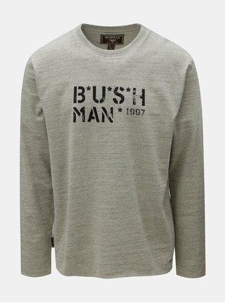 Šedé pánské žíhané tričko s dlouhým rukávem BUSHMAN Joe