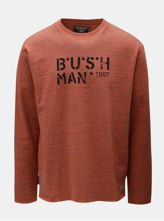 Cihlové pánské žíhané tričko s dlouhým rukávem BUSHMAN Joe