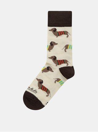 Hnědo-béžové unisex ponožky Fusakle Vencenie