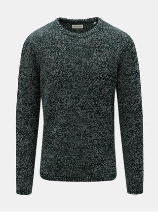 Tmavě zelený žíhaný svetr s kulatým výstřihem Shine Original