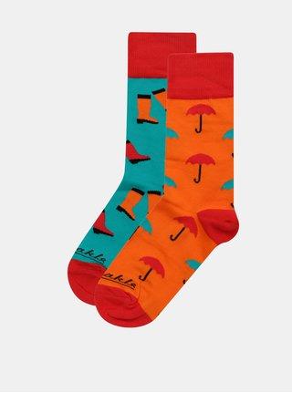 Oranžovo–modré unisex ponožky Fusakle Necas