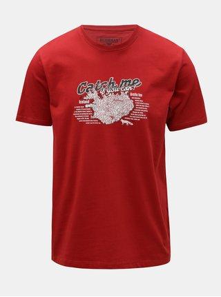 Červené pánske tričko s potlačou BUSHMAN Wing