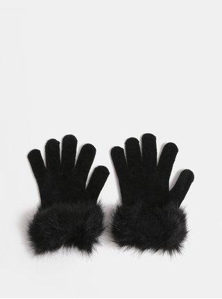 Manusi negre cu blana artificiala Pieces Kassi