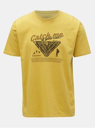Žluté pánské tričko s potiskem BUSHMAN Wing