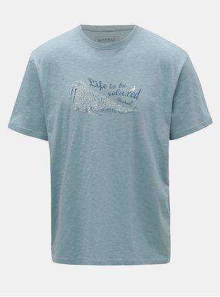 Svetlomodré pánske tričko s potlačou BUSHMAN Croff