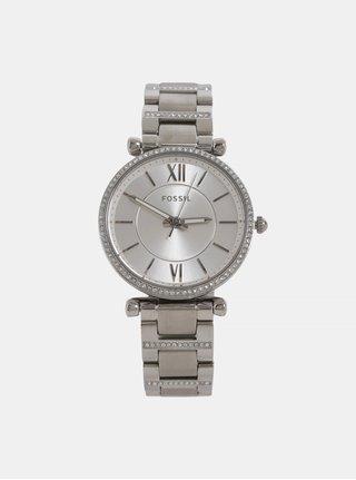 Dámské hodinky ve stříbrné barvě Fossil Carlie