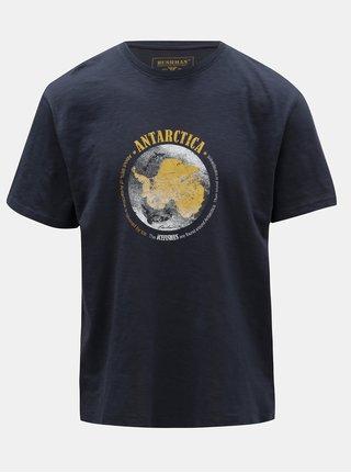 Tmavomodré pánske tričko s potlačou BUSHMAN Croff