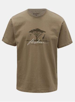 Pánske kaki tričko s potlačou BUSHMAN Parshall