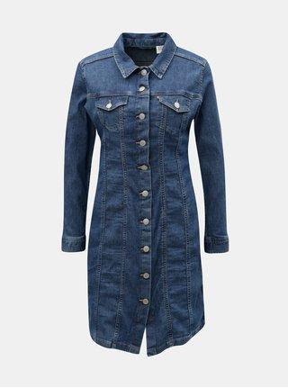 Rochie albastra din denim cu maneci lungi Levi's® Aubrey Western