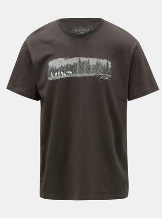 Sivé pánske tričko s potlačou BUSHMAN Dawson