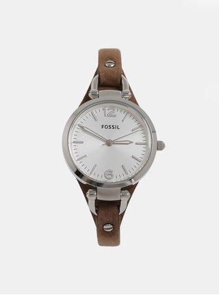 Hnědé dámské hodinky s koženým páskem Fossil Georgia