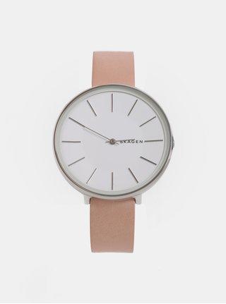 Růžové dámské hodinky s koženým páskem Skagen