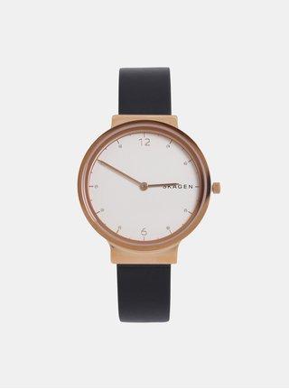 Dámské hodinky s černým koženým páskem Skagen