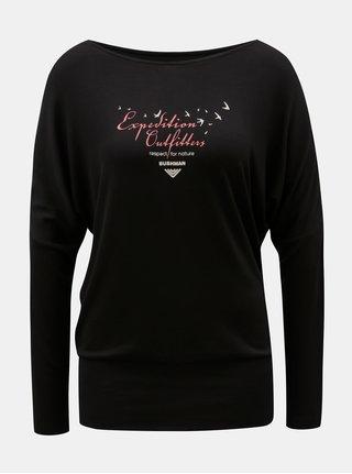 Tricou de dama negru cu maneci liliac BUSHMAN Pensacola