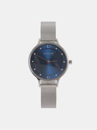 Dámské hodinky ve stříbrné barvě s modrým ciferníkem Skagen
